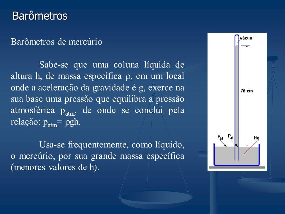 Barômetros Barômetros de mercúrio