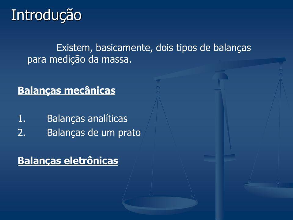 Introdução Existem, basicamente, dois tipos de balanças para medição da massa. Balanças mecânicas.