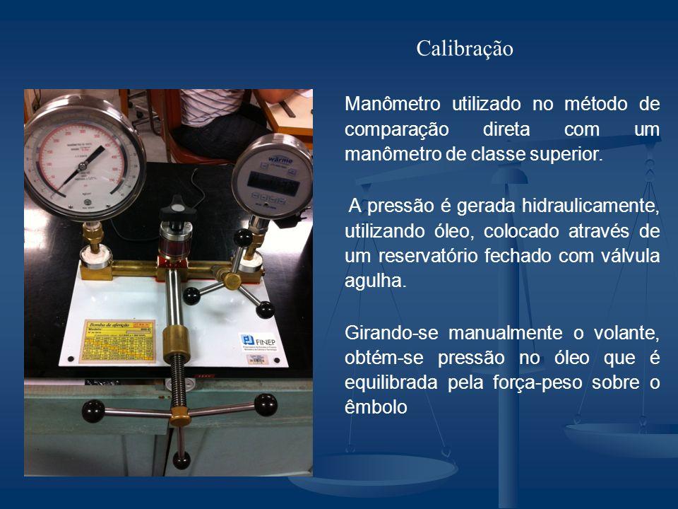 Calibração Manômetro utilizado no método de comparação direta com um manômetro de classe superior.