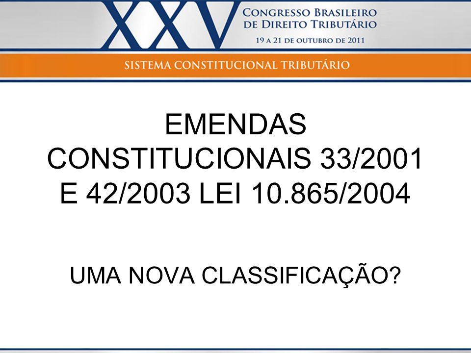 EMENDAS CONSTITUCIONAIS 33/2001 E 42/2003 LEI 10.865/2004