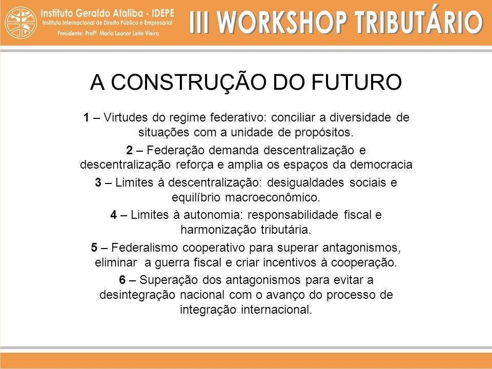 A CONSTRUÇÃO DO FUTURO 1 – Virtudes do regime federativo: conciliar a diversidade de situações com a unidade de propósitos.