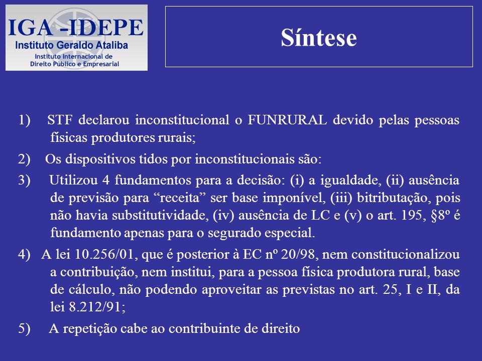 Síntese 1) STF declarou inconstitucional o FUNRURAL devido pelas pessoas físicas produtores rurais;