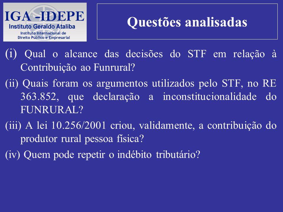 Questões analisadas (i) Qual o alcance das decisões do STF em relação à Contribuição ao Funrural
