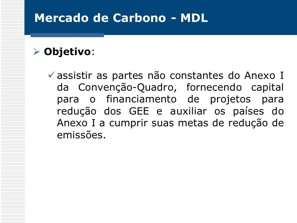 Mercado de Carbono - MDL