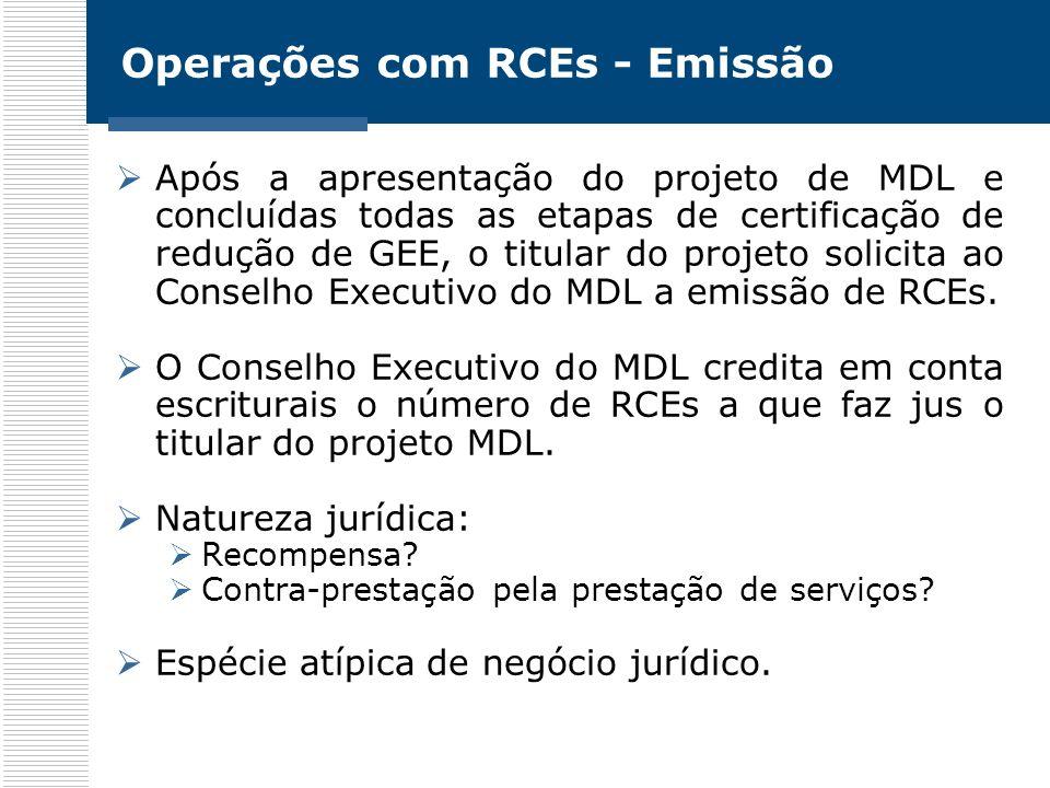 Operações com RCEs - Emissão