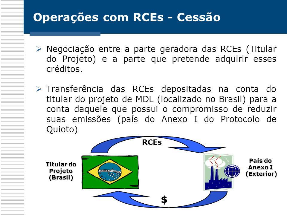 Operações com RCEs - Cessão
