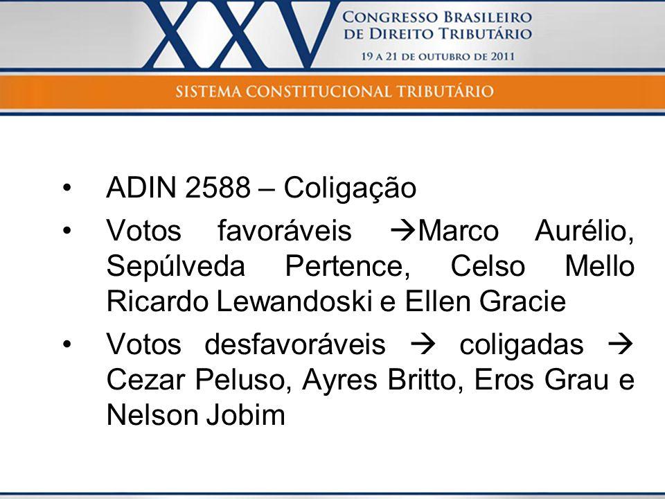 ADIN 2588 – Coligação Votos favoráveis Marco Aurélio, Sepúlveda Pertence, Celso Mello Ricardo Lewandoski e Ellen Gracie.