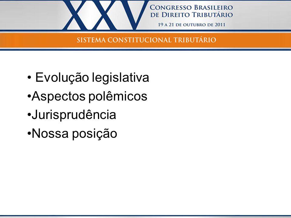 Evolução legislativa Aspectos polêmicos Jurisprudência Nossa posição