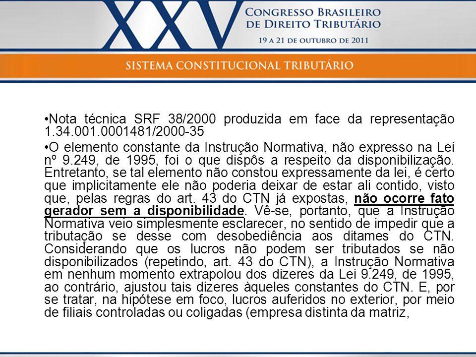 Nota técnica SRF 38/2000 produzida em face da representação 1. 34. 001