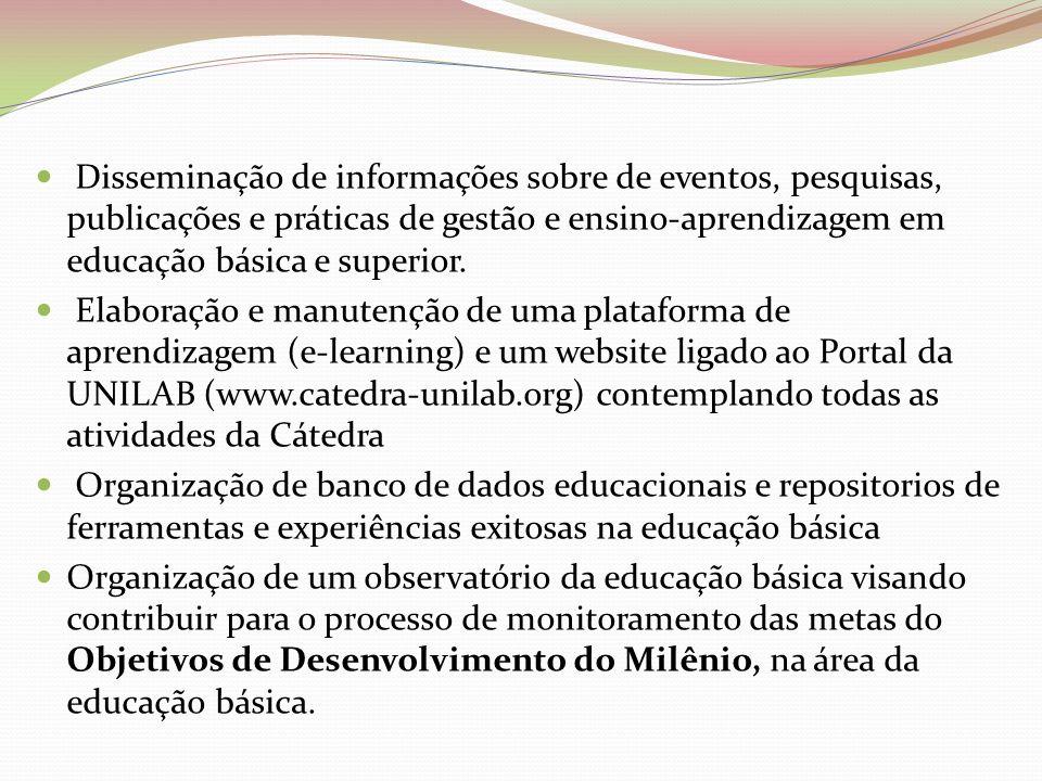 Disseminação de informações sobre de eventos, pesquisas, publicações e práticas de gestão e ensino-aprendizagem em educação básica e superior.