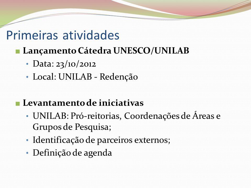 Primeiras atividades Lançamento Cátedra UNESCO/UNILAB Data: 23/10/2012