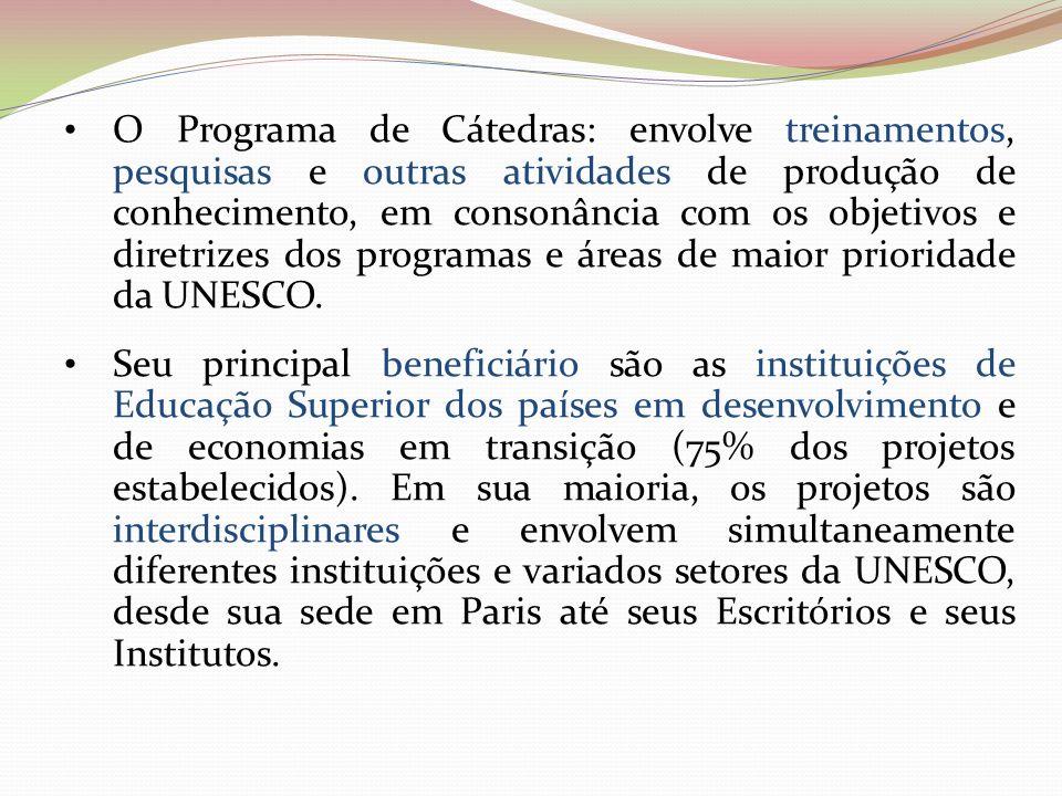 O Programa de Cátedras: envolve treinamentos, pesquisas e outras atividades de produção de conhecimento, em consonância com os objetivos e diretrizes dos programas e áreas de maior prioridade da UNESCO.