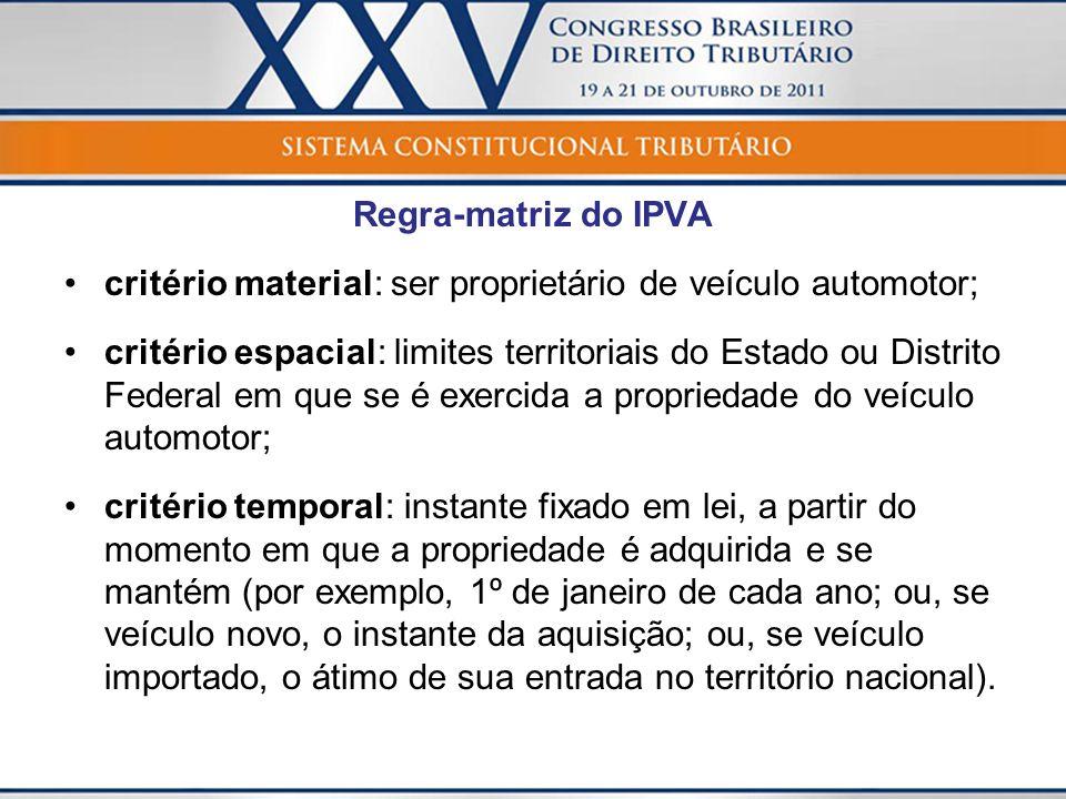 Regra-matriz do IPVA critério material: ser proprietário de veículo automotor;