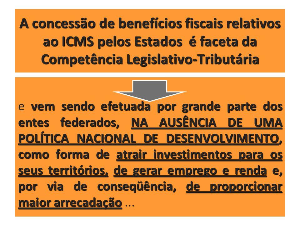 A concessão de benefícios fiscais relativos ao ICMS pelos Estados é faceta da Competência Legislativo-Tributária