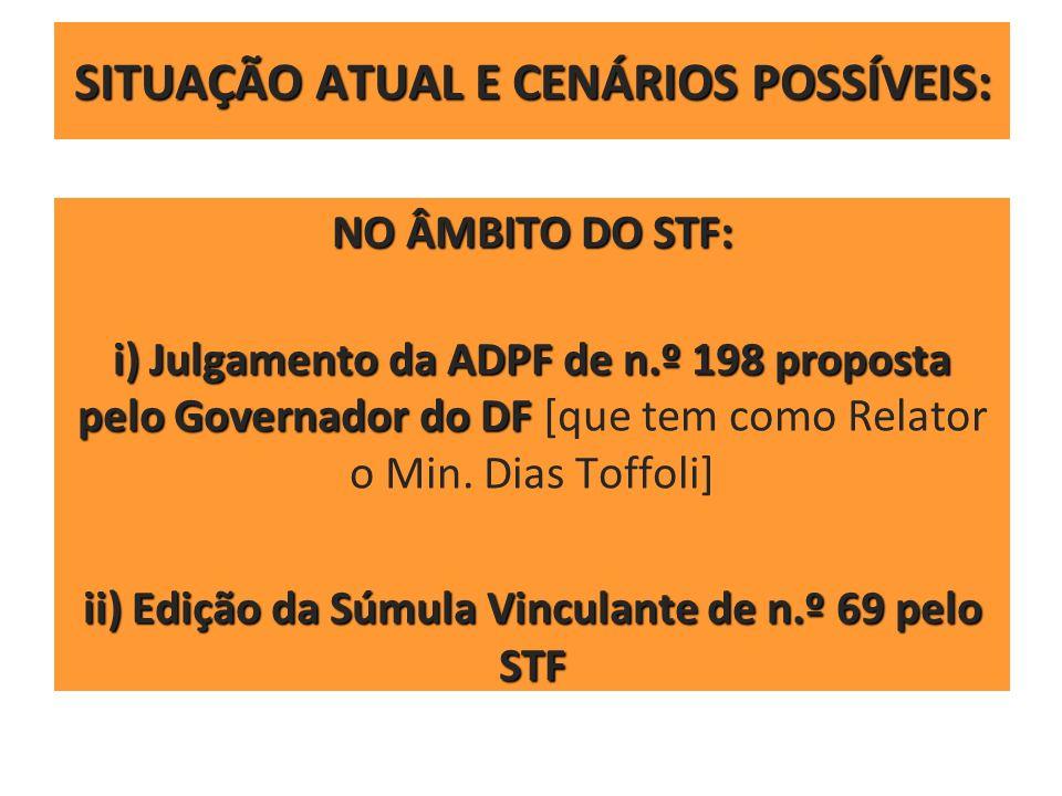 SITUAÇÃO ATUAL E CENÁRIOS POSSÍVEIS: