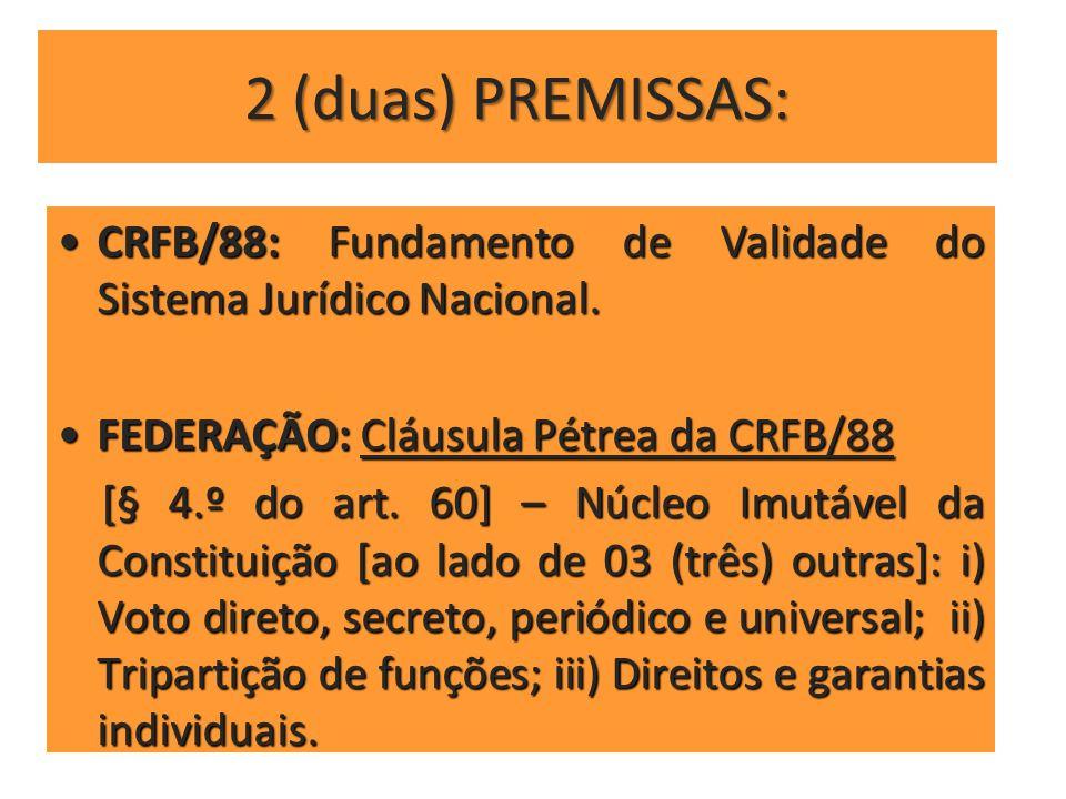 2 (duas) PREMISSAS: CRFB/88: Fundamento de Validade do Sistema Jurídico Nacional. FEDERAÇÃO: Cláusula Pétrea da CRFB/88.