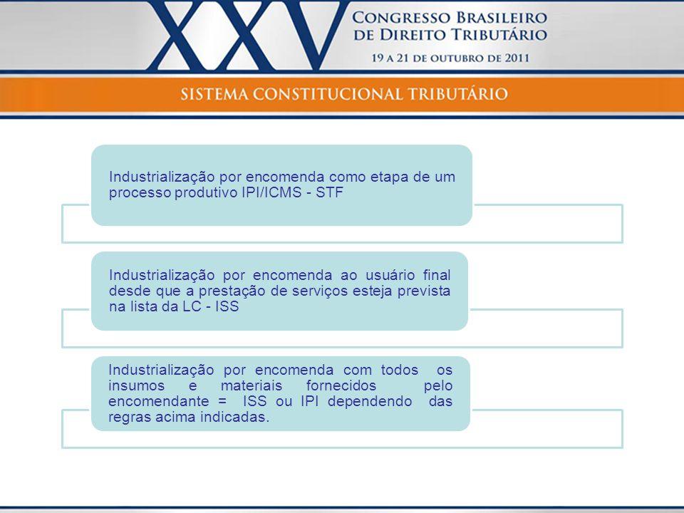Industrialização por encomenda como etapa de um processo produtivo IPI/ICMS - STF