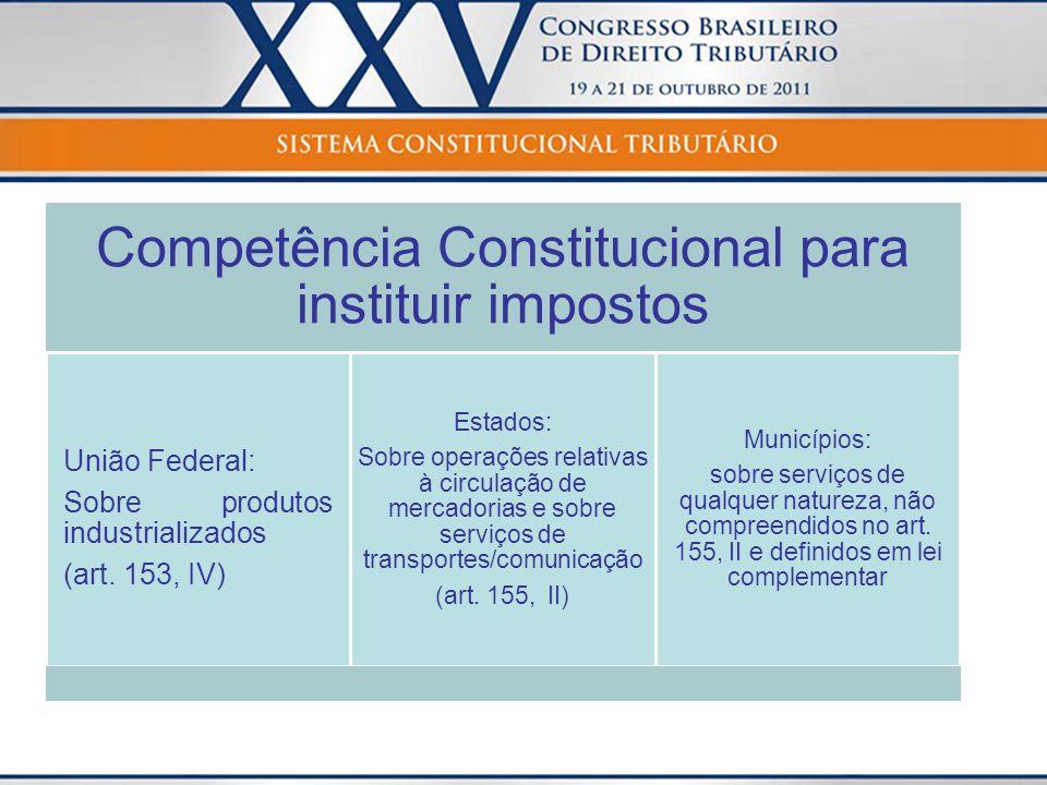 Competência Constitucional para instituir impostos