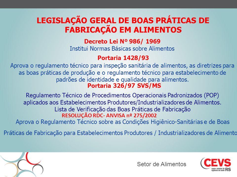 LEGISLAÇÃO GERAL DE BOAS PRÁTICAS DE FABRICAÇÃO EM ALIMENTOS