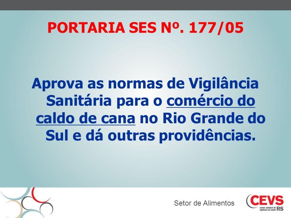 PORTARIA SES Nº. 177/05 Aprova as normas de Vigilância Sanitária para o comércio do caldo de cana no Rio Grande do Sul e dá outras providências.
