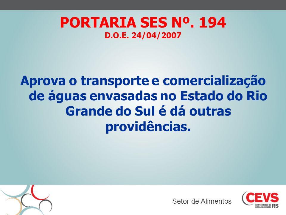 PORTARIA SES Nº. 194 D.O.E. 24/04/2007
