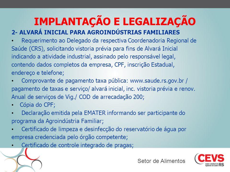 IMPLANTAÇÃO E LEGALIZAÇÃO
