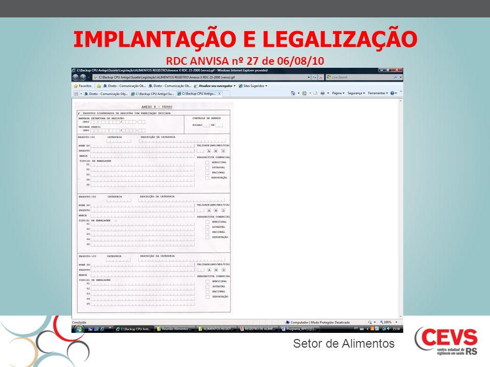 IMPLANTAÇÃO E LEGALIZAÇÃO RDC ANVISA nº 27 de 06/08/10