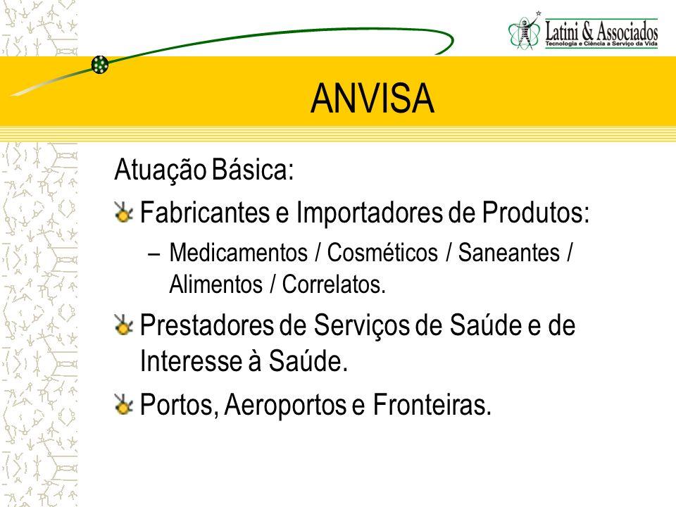 ANVISA Atuação Básica: Fabricantes e Importadores de Produtos: