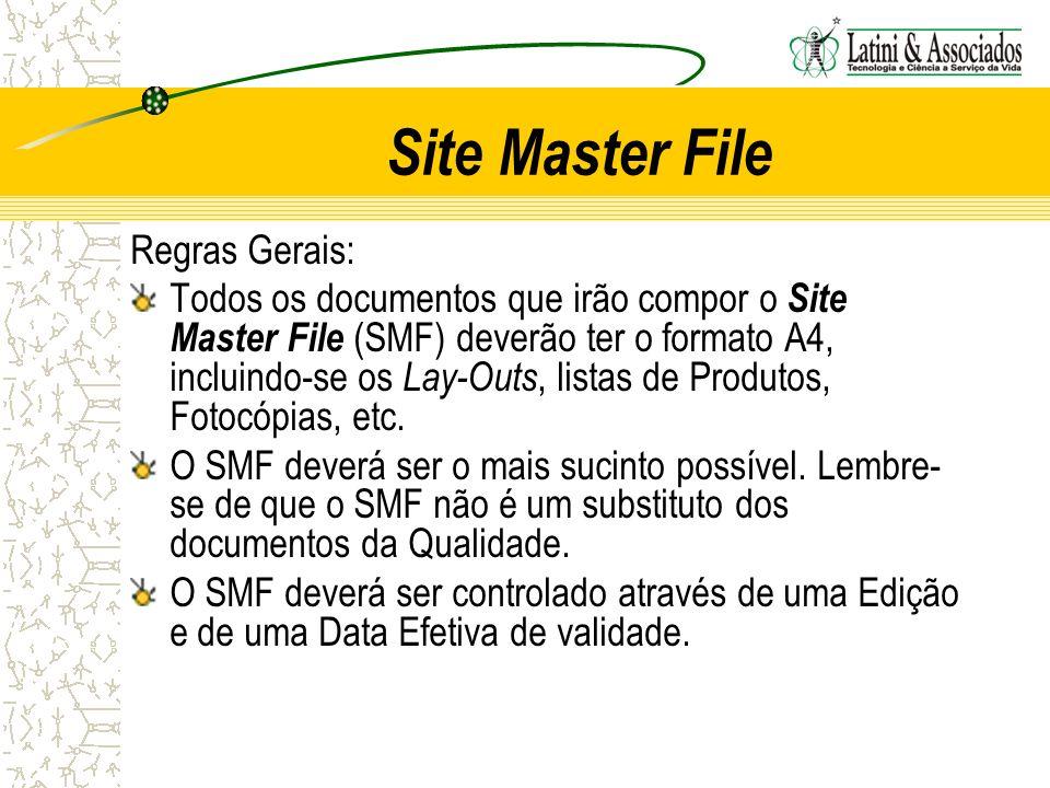 Site Master File Regras Gerais: