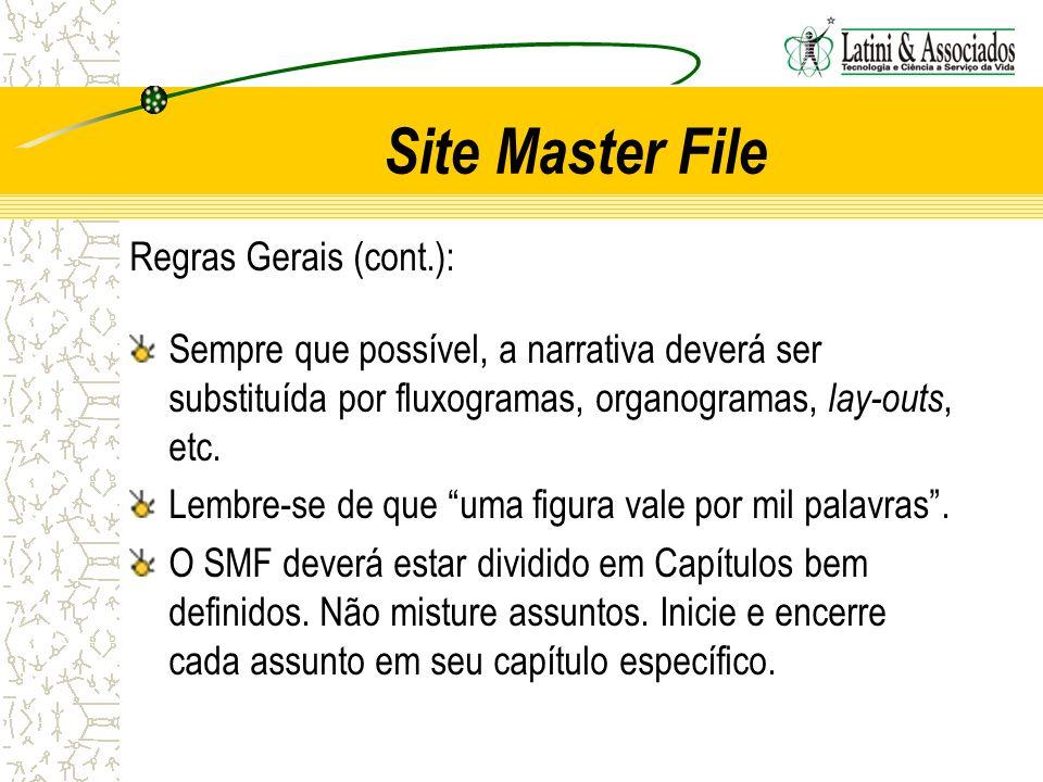 Site Master File Regras Gerais (cont.):