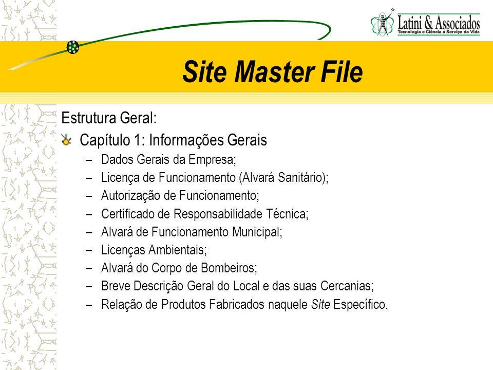 Site Master File Estrutura Geral: Capítulo 1: Informações Gerais