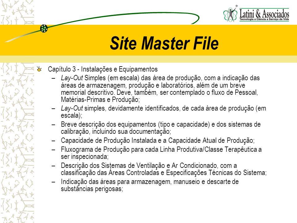 Site Master File Capítulo 3 - Instalações e Equipamentos