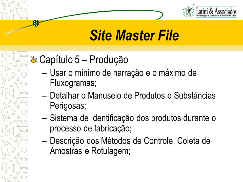 Site Master File Capítulo 5 – Produção