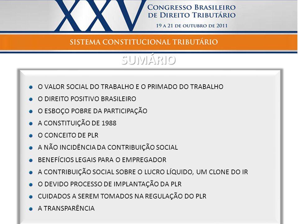 SUMÁRIO O VALOR SOCIAL DO TRABALHO E O PRIMADO DO TRABALHO