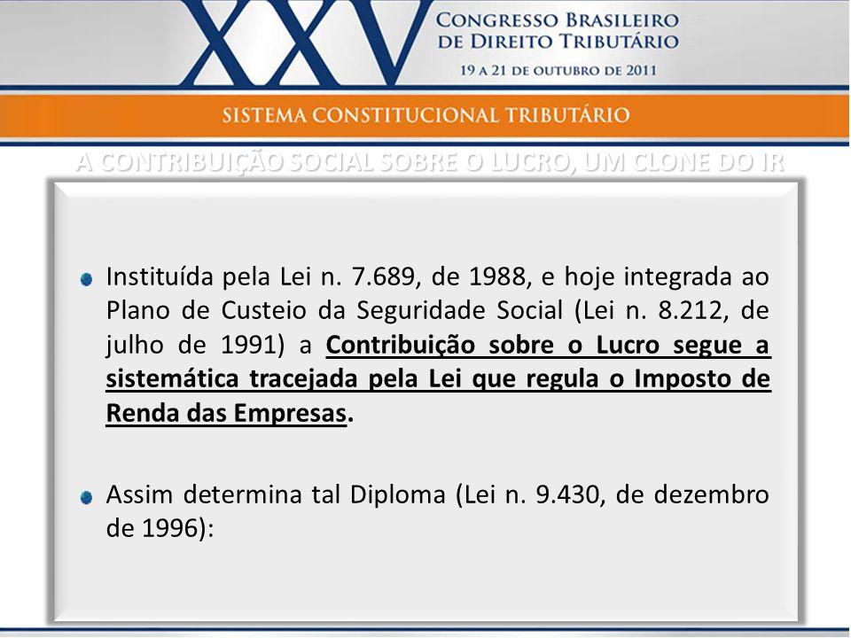 A CONTRIBUIÇÃO SOCIAL SOBRE O LUCRO, UM CLONE DO IR