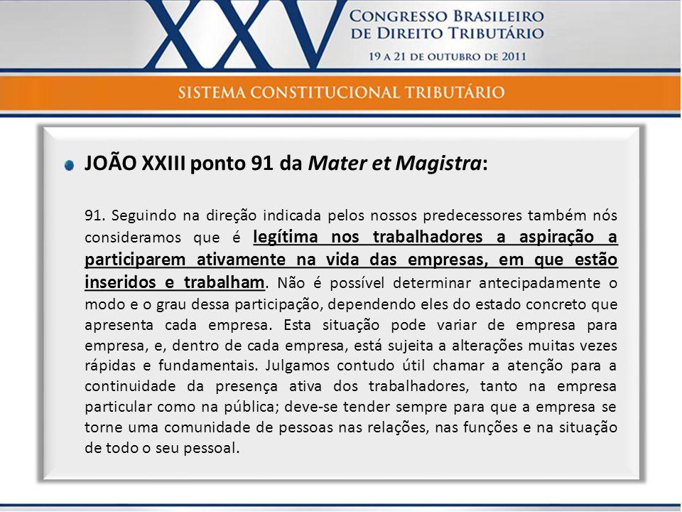 JOÃO XXIII ponto 91 da Mater et Magistra: