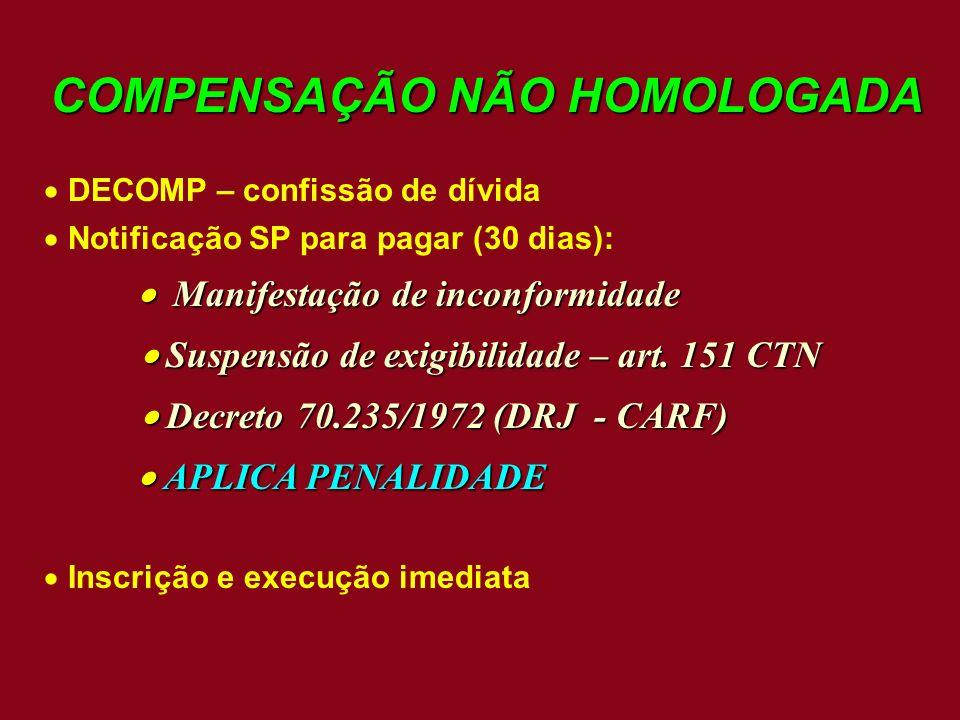 COMPENSAÇÃO NÃO HOMOLOGADA
