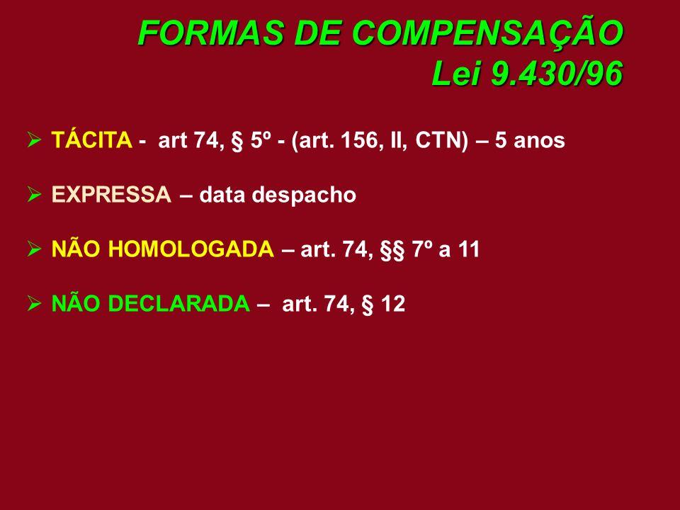 FORMAS DE COMPENSAÇÃO Lei 9.430/96