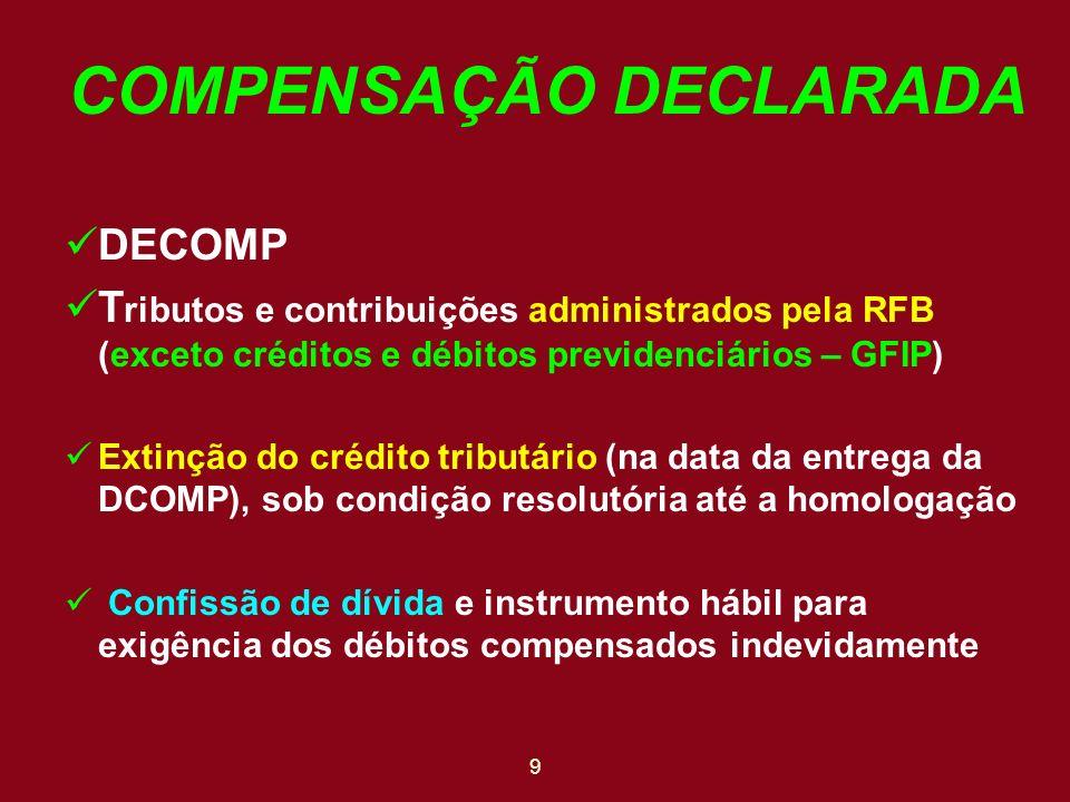 COMPENSAÇÃO DECLARADA