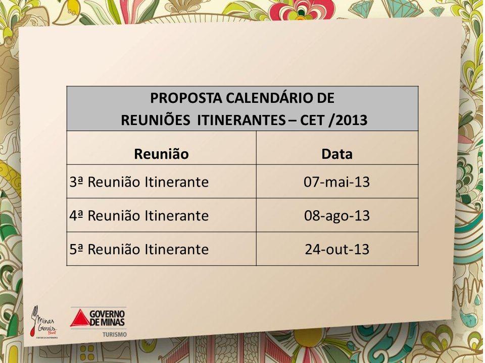 PROPOSTA CALENDÁRIO DE REUNIÕES ITINERANTES – CET /2013