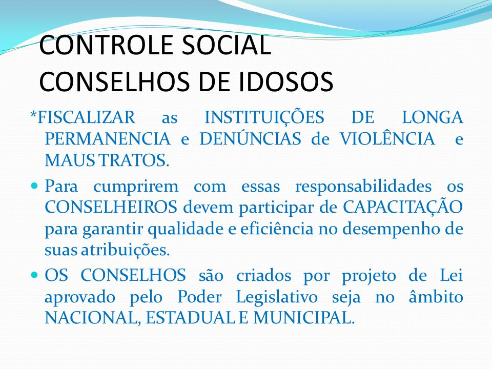 CONTROLE SOCIAL CONSELHOS DE IDOSOS