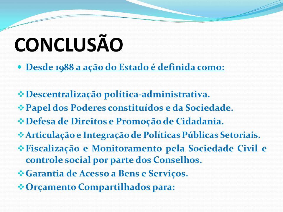 CONCLUSÃO Desde 1988 a ação do Estado é definida como: