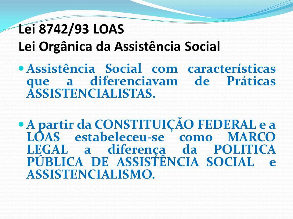 Lei 8742/93 LOAS Lei Orgânica da Assistência Social