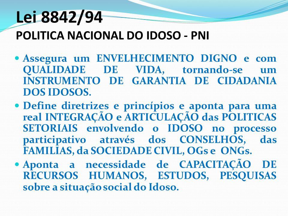 Lei 8842/94 POLITICA NACIONAL DO IDOSO - PNI