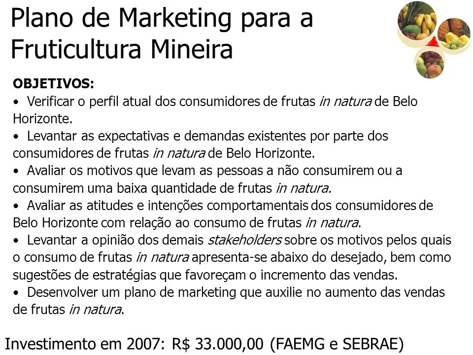 Plano de Marketing para a Fruticultura Mineira