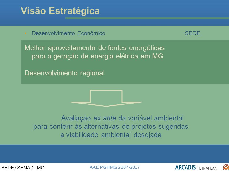 Visão Estratégica Desenvolvimento Econômico SEDE. Melhor aproveitamento de fontes energéticas para a geração de energia elétrica em MG.