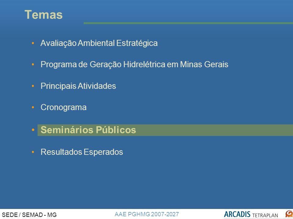 Temas Seminários Públicos Avaliação Ambiental Estratégica