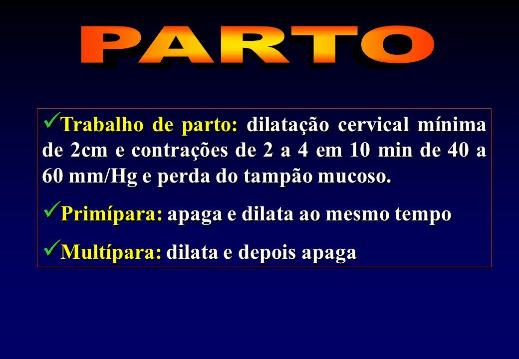 PARTO Trabalho de parto: dilatação cervical mínima de 2cm e contrações de 2 a 4 em 10 min de 40 a 60 mm/Hg e perda do tampão mucoso.