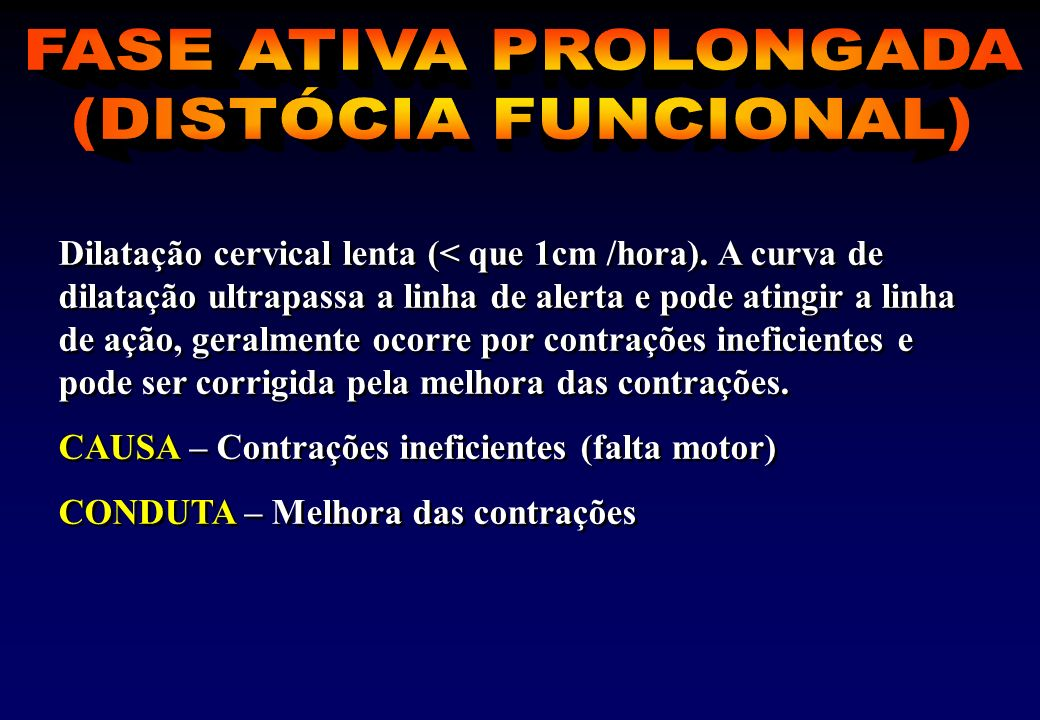 FASE ATIVA PROLONGADA (DISTÓCIA FUNCIONAL)