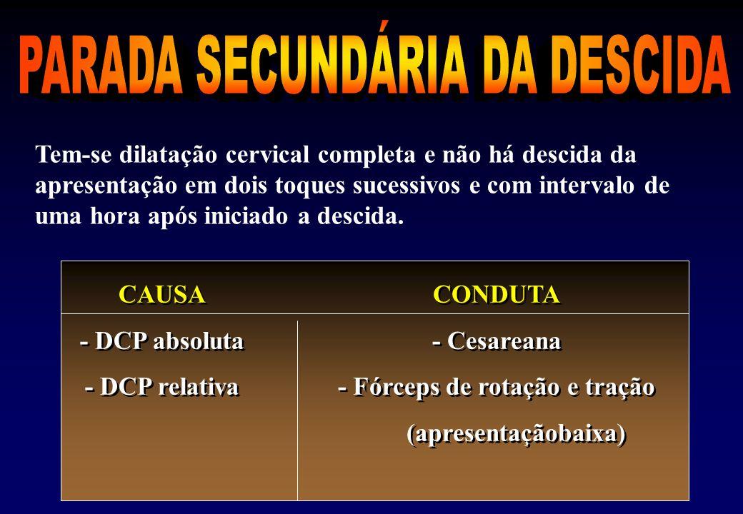 PARADA SECUNDÁRIA DA DESCIDA - Fórceps de rotação e tração